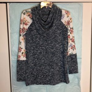Sweaters - Floral sleeves cowl-neck blouse